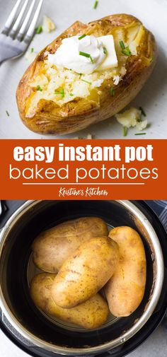 Perfect Instant Pot Baked Potatoes Perfect Instant Pot Baked Potatoes How to cook Baked Potatoes in your Instant Pot! A foolproof recipe for easy pressure cooker baked potatoes, plus how to make Instant Pot baked potatoes with crispy skins. Pressure Cooker Baked Potatoes, Cooking Baked Potatoes, Baked Potato Recipes, How To Cook Potatoes, Cook Baked, Best Baked Potatoes, Potato Meals, Easy Baked Potato, Instant Pot Potato Recipe