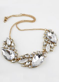 White Gemstone Gold Geometric Chain Necklace US$7.51 - I really like the elegant look of this necklace.