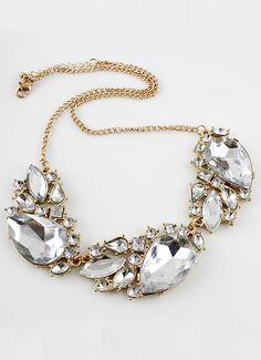 goldene Halskette mit weißen Edelsteinen 6.38