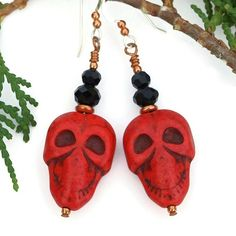 If you are looking for the perfect pair of scary handmade earrings to take you through Halloween or Day of the Dead (Dia de los Muertos) festivities, you've found them! The skulls are so very wicked l