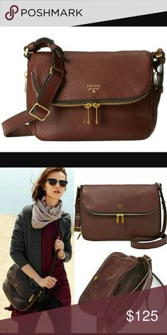 "Fossil Crossbody NWOT! 100% leather. 1 zipper pocket, 2 media pockets. 11"" L x 4""W x 9.25""H. Large enough for iPad mini. Designed with zippered gussets for easy expandability. Still sold in stores. Fossil Bags Crossbody Bags"