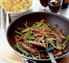 Stir-fried beef with hoisin sauce, will use homemade gluten free sauce and serve with rice noodles.