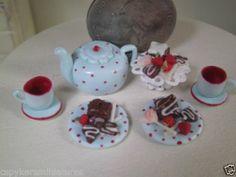 Dollhouse Miniature Half Inch Scale Red Polka tea set by CSpykersMiniatures