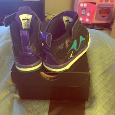 Jordan size 6c kids/toddlers Jordan's black /purple/ turquoise  size 6c  kids /toddlers Shoes Sneakers