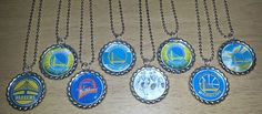 Set of 8 GOLDEN ST WARRIORS Flat Bottlecap Necklaces! Fast Shipping!!