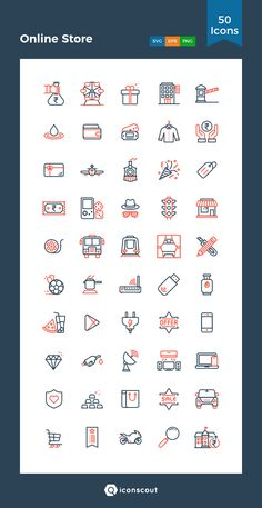 Online Store  Icon Pack - 50 Line Icons