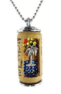 Palm Tree Wine Cork Necklace by corkdazzle