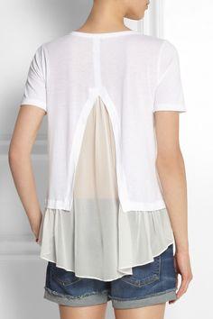 CLU|Silk chiffon-paneled jersey top |NET-A-PORTER.COM