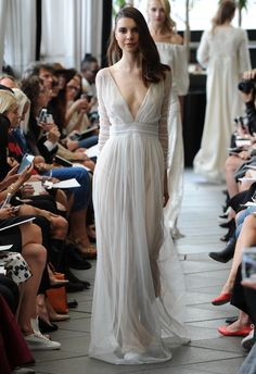 Plunging Neckline Wedding Dress | Delphine Manivet Fall/Winter 2015 | blog.theknot.com