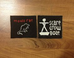 Mouse Rat or Scarecrow Boat handmade band patches by alpacamajesty