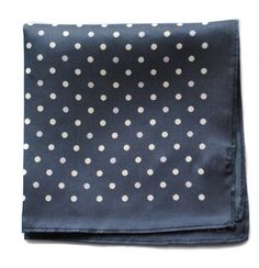 navy patterned four corner pocket square with navy edging