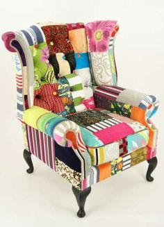 Patchwork Chair  I should do this once the cats have destroyed my furniture beyond recognition.