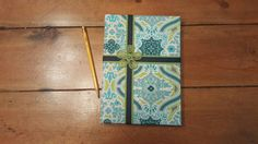 Blue and Green Fabric covered Diary Journal Notebook log or Poetry album  with Flower embellishment. Ribbon, flower fabric, shabby chic, by CloudBerryTrails on Etsy