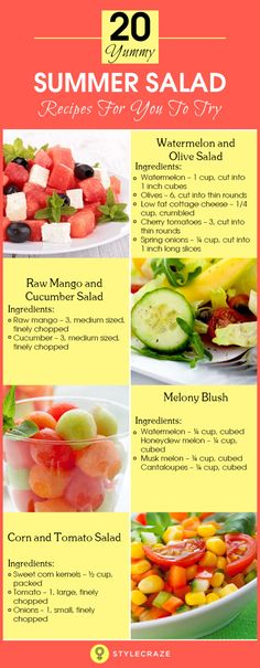 Love to munch on salads, particularly on a hot summer day? If you love healthy food, these all-season delights are surely your comrades for life. To pep up what you already love, just toss in your fav Summer Salad Recipes, Healthy Salad Recipes, Summer Salads, Vegetarian Recipes, Healthy Food, Healthy Eating, Cooking Recipes, Yummy Recipes, Diet Recipes