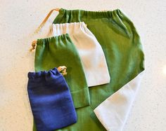 Selection of 3 drawstring Bags For Bulk Bins - Eco Friendly Sustainable Pouches