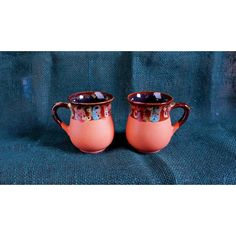 Fall gift ideas for mom Orange ceramic tea mugs Set of 2 cups Pottery... ($28) ❤ liked on Polyvore featuring home, kitchen & dining and drinkware