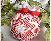 Quilted Christmas Ornament Peppermint red white