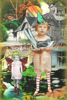Amy and Celeste ~ Watercolor/Collage Print, $14