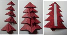 A folded Christmas tree - with instructions Punch Art, Xmas Tree, Card Making, Scrapbooking, Tutorials, Fancy, Shapes, Create, Birthday