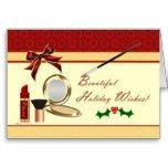 Cosmetics Makeup Christmas Holiday  Blank Card
