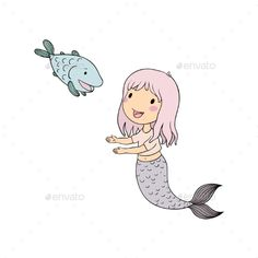 #Cartoon Mermaid and Fish. Siren. Sea Theme - People #Characters Download here:    https://graphicriver.net/item/cartoon-mermaid-and-fish-siren-sea-theme/20396541?ref=alena994