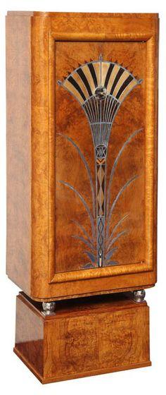Art Déco - Cabinet - Ronce d'Orme - Incrustations de Sycomore, Ebène, Bois de Rose et Etain - Pieds en Nickel - 1930