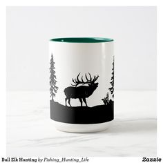 Bull Elk Hunting Two-Tone Coffee Mug Hunting Home Decor, Bull Elk, Elk Hunting, Dinnerware, Color Pop, Coffee Mugs, Best Gifts, Ceramics, Prints