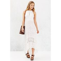 Gypsy 05 Embroidered Tulip Maxi Dress (175 CAD) ❤ liked on Polyvore featuring dresses, lace maxi dress, white dress, maxi dress, lace dress and floral embroidered dress