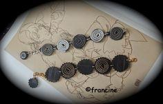 """Bracelets à cinq médaillons combinant zips et rondelles  chambre à air """"récupérés"""" Idea"""