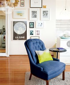 Gallery wall  Megan always wanted to create a gallery wall, and her plain 1960s apartment walls offered the ideal blank slate. This one features family photographs, favourite artwork and other collectibles.
