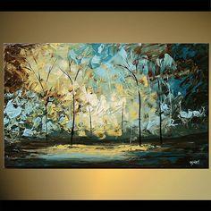 Landscape Blooming Trees Painting Original por OsnatFineArt en Etsy