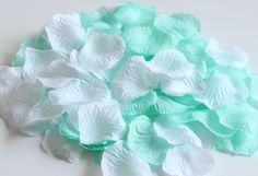 CheckMineOut Mixed Mint and White Silk Rose Petals Wedding Flowers Party Decoration Confetti Bridal Shower Party Favor (600) -- Click image for more details.