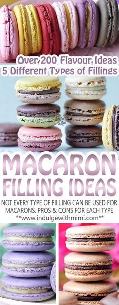 macaron fillings can be too high in moisture causing them to be soggy and some may not be sturdy enough to use as fillings. Learn the pros & cons between different filling types for macarons. With over 200 types of filling ideas! French Macaroon Recipes, French Macaroons, French Macaron Flavors, French Macaron Filling, Make Macaroons, Macaroons Wedding, Making Macarons, Baking Recipes, Cookie Recipes