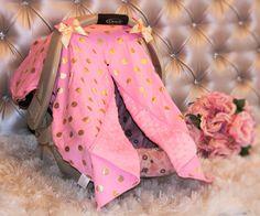 Pink Gold Polka Dot Car Seat Canopy #custom-headbands #new