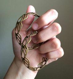 Bronze Beautiful Leaf Design Hoops