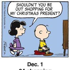 If shopping for me I love Snoopy! Days To Christmas, Peanuts Christmas, Christmas Cartoons, Charlie Brown Christmas, Charlie Brown And Snoopy, Christmas Humor, Christmas Countdown, Christmas Ideas, Christmas Comics