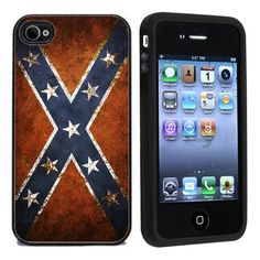 Rubber Confederate Rebel Flag iPhone 4 or 4s Case