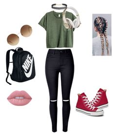 """Untitled #37"" by joliel333 ❤ liked on Polyvore featuring Converse, Beats by Dr. Dre, Victoria Beckham, Humble Chic, Lime Crime and NIKE"