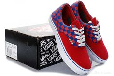 Vans Off The Wall Red Blue White Sneakers
