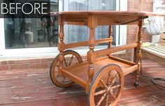 This Charming Tea Cart Gets a New Job - GoodHousekeeping.com Antique Tea Cart, Wine Cart, Rolling Table, Paint Bar, Neuer Job, Chalk Paint Furniture, Repurposed Furniture, Vintage Wood, Furniture Makeover