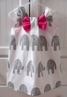 Premier Prints Elephant Bow Dress in sizes 1T5T for by babygraybee, $32.00
