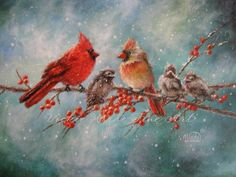 Cardinal Family Print, cardinal paintings, red birds, winter birds, snow bird paintings, cardinals art, Vickie Wade art. $26.00, via Etsy.