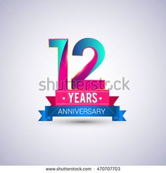 12 years anniversary logo, blue and red colored vector design