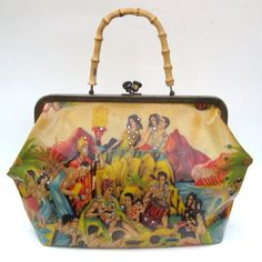 What a gorgeous retro Pacific inspired handbag.  Eugene Savage 1950s