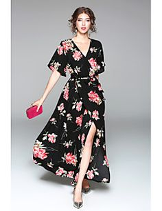 3b4293e6 [$14.99] Women's Floral Daily / Going out Casual Flare Sleeve Maxi Chiffon  / Swing Dress - Floral Split V Neck Spring Black