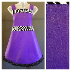 Adult fancy- purple glitter apron w zebra accent Http://www.jsaprons.com/