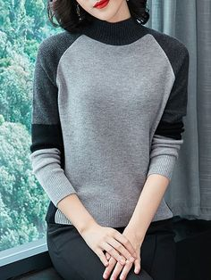 Short High Collar Patchwork Elegant Color Block Long Sleeve Knit Pullover # Daily update comfy women's casual styles, big everyday Latest Fashion Clothes, Fashion Outfits, Fall Fashion, Womens Fashion, Fashion Trends, Loose Knit Sweaters, Trendy Outfits, Spring Outfits, Winter Outfits