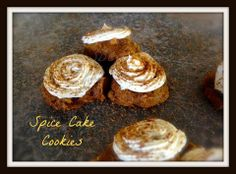 SPICE CAKE COOKIES Cake Ingredients: 1 can of Pumpkin Puree 1 box Spice Cake Mix 1/2 tsp cinnamon 1 tsp vanilla Cinnamon Sugar (you can buy it or make your own by mixing 1/2 cup sugar with 1 Tbsp cinnamon) Directions: Mix all ingredients together in large mixing bowl. Drop by teaspoons on greased baking sheet. Lightly Sprinkle with Cinnamon/Sugar. Bake at 350 degrees for 13-15 minutes. Let Cookies Cool and cooling rack. Cream Cheese Frosting Ingredients: 8 oz cream cheese, softened 8 oz tub…