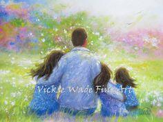 Pinturas de tres niñas padre & impresión de arte de tres