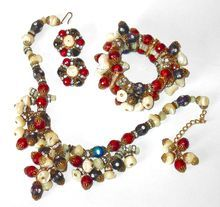 Dripping Hobe Necklace, Bracelet and Earrings with Rondelle and MOP Beads